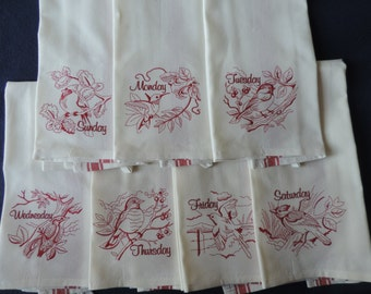 Redwork Bird Day of the Week Towels
