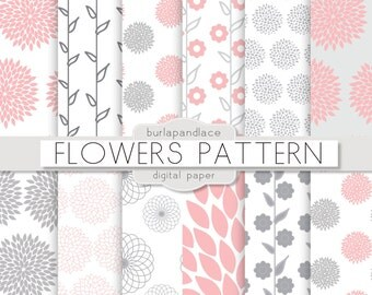 Digital paper Gray and Rose blush, pink flowers, mum flower, dahlia flower pattern, floral pattern, flower paper