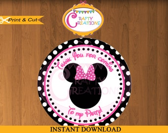 INSTANT DOWNLOAD - Minnie Mouse Pink Sticker- Party Tags- Thank You Tags- Favor Tags - Gift Tags- Birthday -Baby Shower- CraftyCrearionsUAE