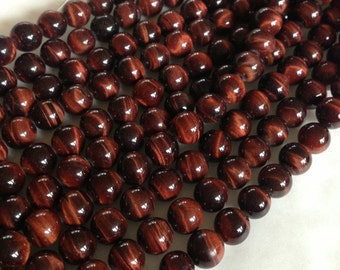 6mm Red Tiger Eye Round Beads - A Grade