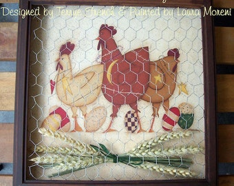 Prim Chick Gathering by Laura Moreni for Painting with Friends. E-Pattern