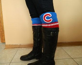 Crochet Chicago Cubs inspired boot cuffs
