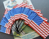 Vintage American Flag Picks, Patriotic Decor, Cupcake Topper, Memorial Day, 4th of July