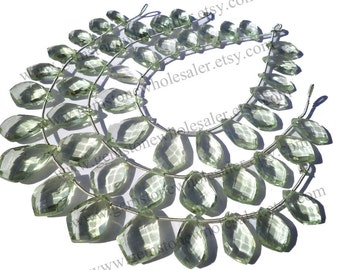 Green Amethyst (Prasiolite) Faceted Kite (Quality A+) / Pack of 2 Strands / 18 cm / 16 to 18 Grms. / 10x14 to 12x20 mm /  GW-065