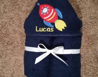 Personalized Spaceship Rocket Hooded Towel