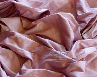 "Iridescent Orchard Pink Dupioni Silk, 100% Silk Fabric, 44"" Wide, By The Yard (S-169)"