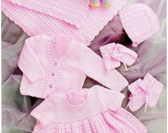 Knitting Pattern Baby Child coat dress blanket hat mits bootees  UKHKA  36 DK  12-20 inch  new
