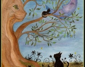 Magical Cat Tree, In the still of the night, Mother Earth, card or print,  Watercolor, Item #0083a