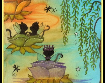 Lily Pad Flower Kitties, a peaceful relaxing scene,  Watercolor, Cards or Prints, Item #0343a