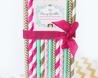 HOT PINK paper straws *Pink and Mint *Mint Straws *GOLD Straws -Wedding, Birthday, Baby Shower *Dark Pink and Mint *Vintage inspired straws