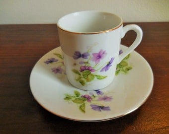 Vintage Lefton China, 1987 Lefton, cup and saucer, Lefton Demitasse, Lefton purple floral, tea cup, flower tea cup, collectible china
