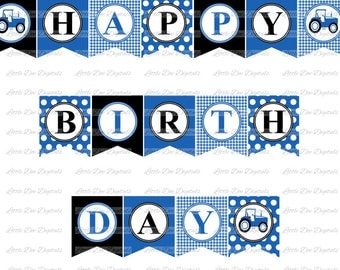 Blue Tractor Themed Happy Birthday Banner Sign Pennant Bunting - Printable Party Decor - Instant Download