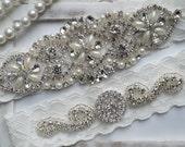 Wedding Garter, Crystal Bridal Garter Set, Vintage Inspired Wedding Stretch Lace Garter, Bridal Garter, Garter - Style 750