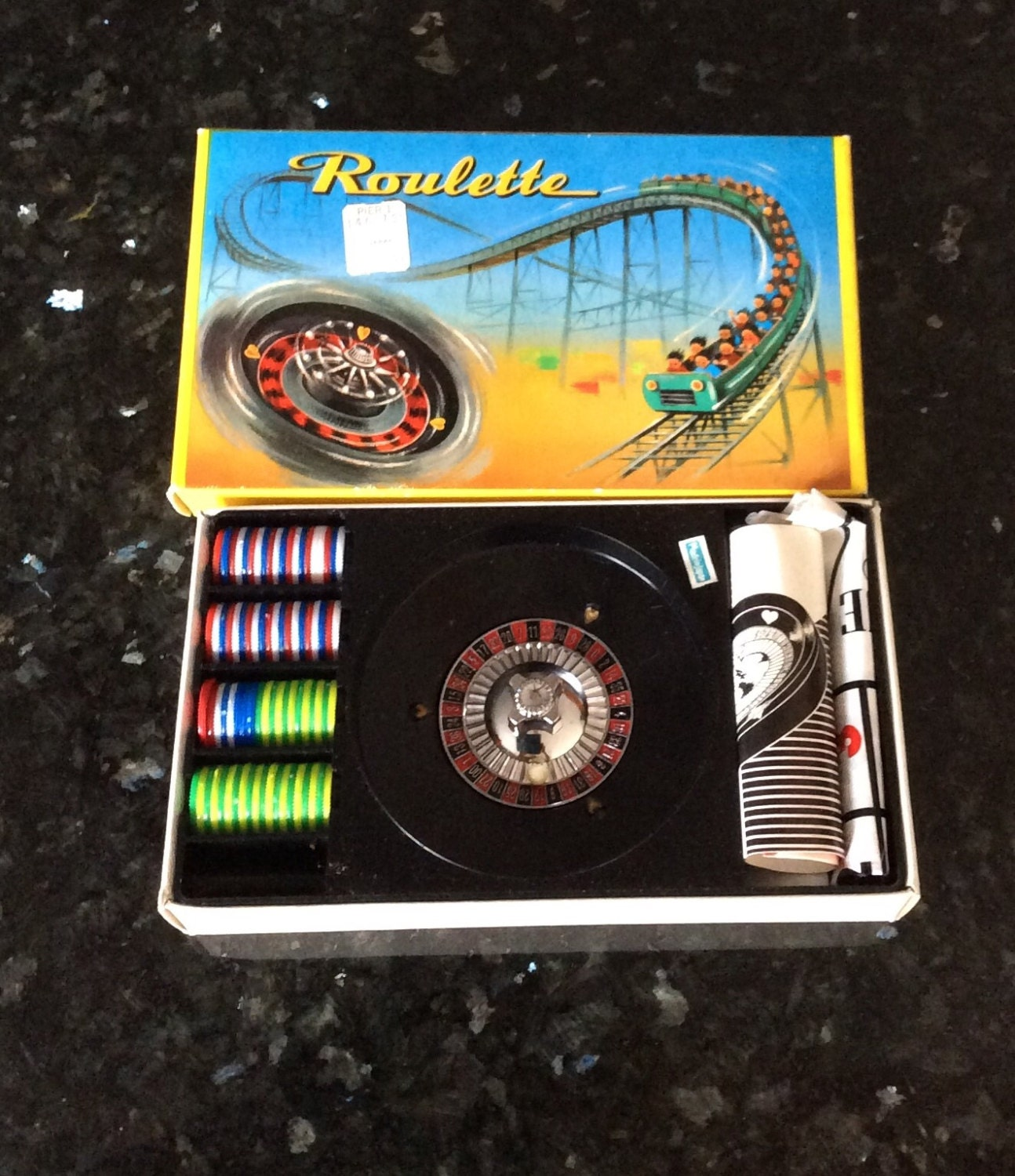 vintage toy roulette in box layout wheel and chips made in. Black Bedroom Furniture Sets. Home Design Ideas