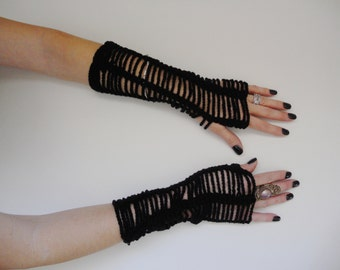 Crochet Lacey Gothic Fingerless gloves