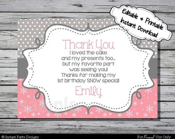 Winter Wonderland Thank You Card Birthday Party - Editable Printable Digital File with Instant Download