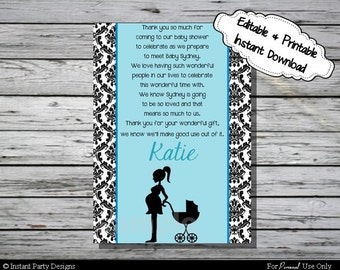 Baby Shower Thank You Card Blue Damask - Editable Printable Digital File with Instant Download