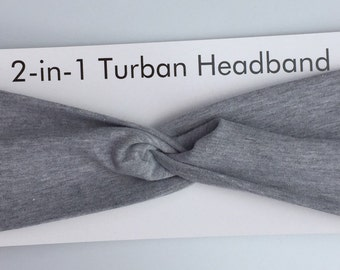 2-in-1 Cotton Turban Twist Headband in Heather Grey