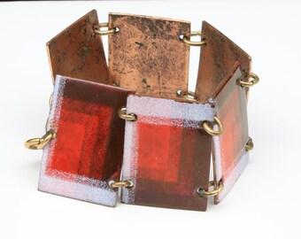 Vintage Modernist Copper & Enamel Panel Link Bracelet Mid Century Modern Red