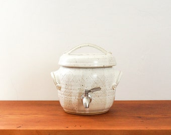 Ready to Ship**  Small one gallon kombucha fermentation crock in Buttermilk White. Handmade, wheel-thrown ceramic stoneware.