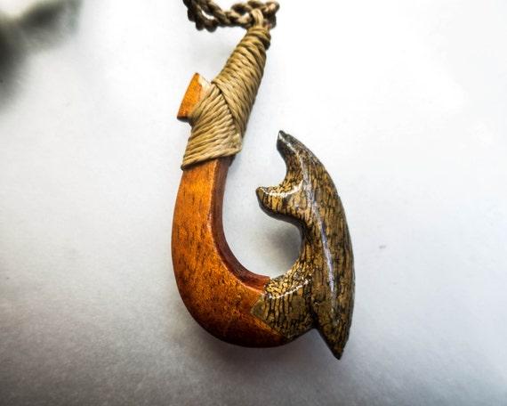 koa wood whale bone fish hook pendant handmade in by