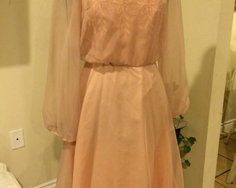 Vintage 1970's Pink Frills Old Fashioned Style Dress