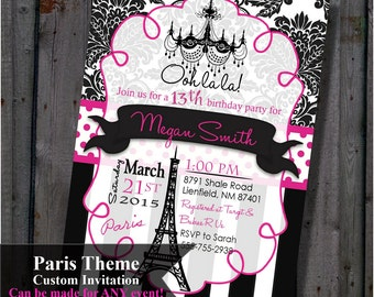 Paris Birthday Party Invitation Pink and Black  Eiffel Tower Chandelier 5x7 invite printable bride damask theme Invitations Digital