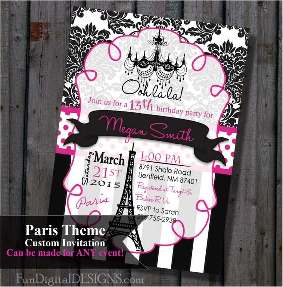Paris birthday party invitation pink and black eiffel tower chandelier 5x7 invite printable - Salon des seniors paris invitation ...