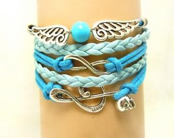 Infinity Blue Leather bracelet, Handmade Wings Bracelet,Gift Bracelet