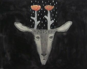 Print - Flower Deer
