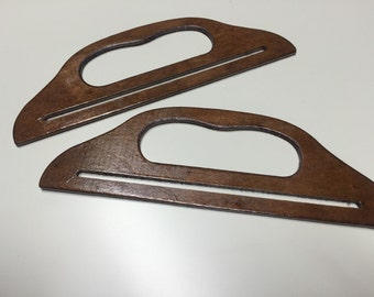 1 Pair of wood bag handles brown 25cm x 8,5cm