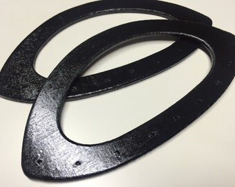 1 Pair of black wood bag handles 20,5cm x 10,5cm