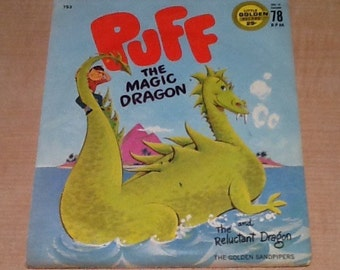 """Vintage collectible """"Puff The Magic Dragon"""" Little Golden Record 78 RPM with other side """"Reluctant Dragon"""" by the Golden Sandpipers."""