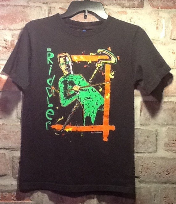 Vintage 1995 youth large t shirt the riddler with for Riddler t shirt with bats