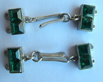 One Vintage Silver Tone and Greed Glass Rhinestone Clasp