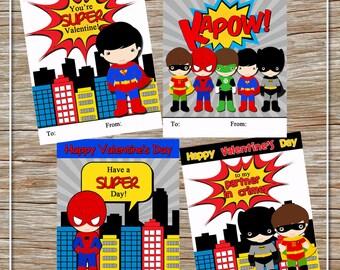 INSTANT DOWNLOAD - Super Hero Valentine Cards - Batman & Robin, Superman, Spiderman