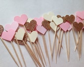 Bridal Shower Cupcake Toppers - Chic Bridal Shower - Girly Bridal Shower - Heart Cupcake Toppers - Bridal Shower Decor - Bachelorette