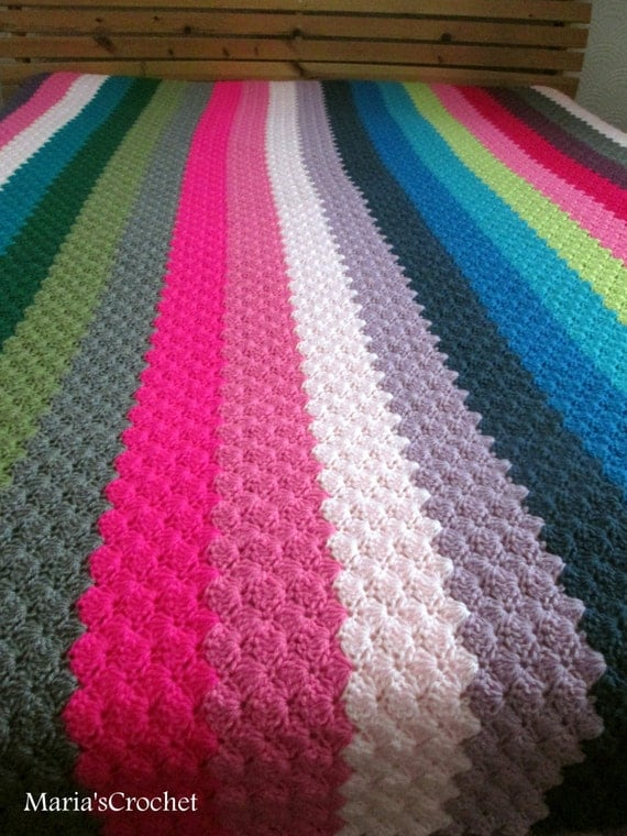 Crochet Queen Size Blanket : similar to Queen size multicolour crochet blanket, afghan, bedding ...