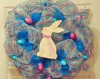easter bunny wreath easter mesh wreath easter egg wreath