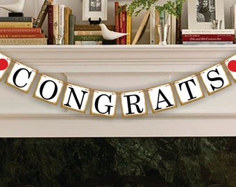Congrats Banner - Congratulations Banner - Graduation - Engagement - Wedding - Garland - Sign - Photo Prop