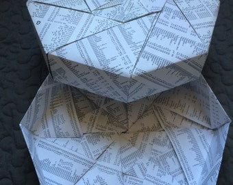 Origami gift box, made from vintage atlas place name pages.