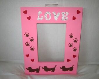 Dachshund Frame, Dachshund Decor, Dachshund Dog Frame, Dachshund Hearts,Design, 5X7  Frame,  Picture Frame,  Weiner Dog Decor,