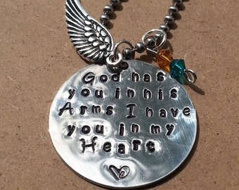 Memorial, Remembrance, Loss of Loved One Hand Stamped Necklace