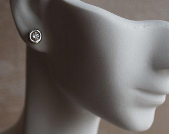 0.60 carat Gold Diamond Earrings-14K White Gold Earrings-Stud Earrings-Women Jewelry-Solitaire diamond earrings-Birthday present-For her