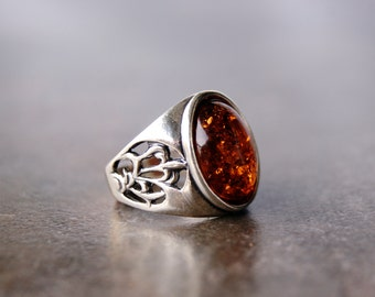 Sterling silver ring with Baltic amber for men