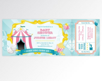 Pink carnival / circus baby shower printable invitation