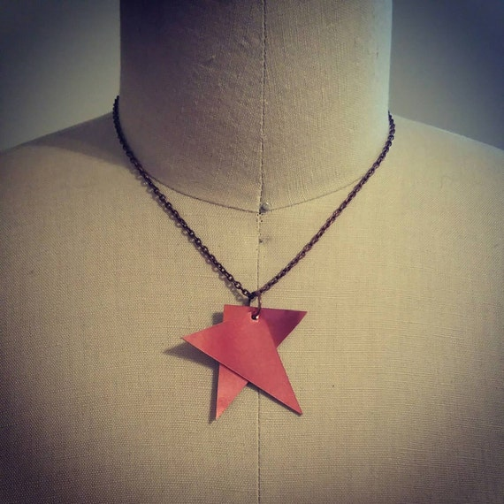 Pink Patent Leather Geometric Necklace