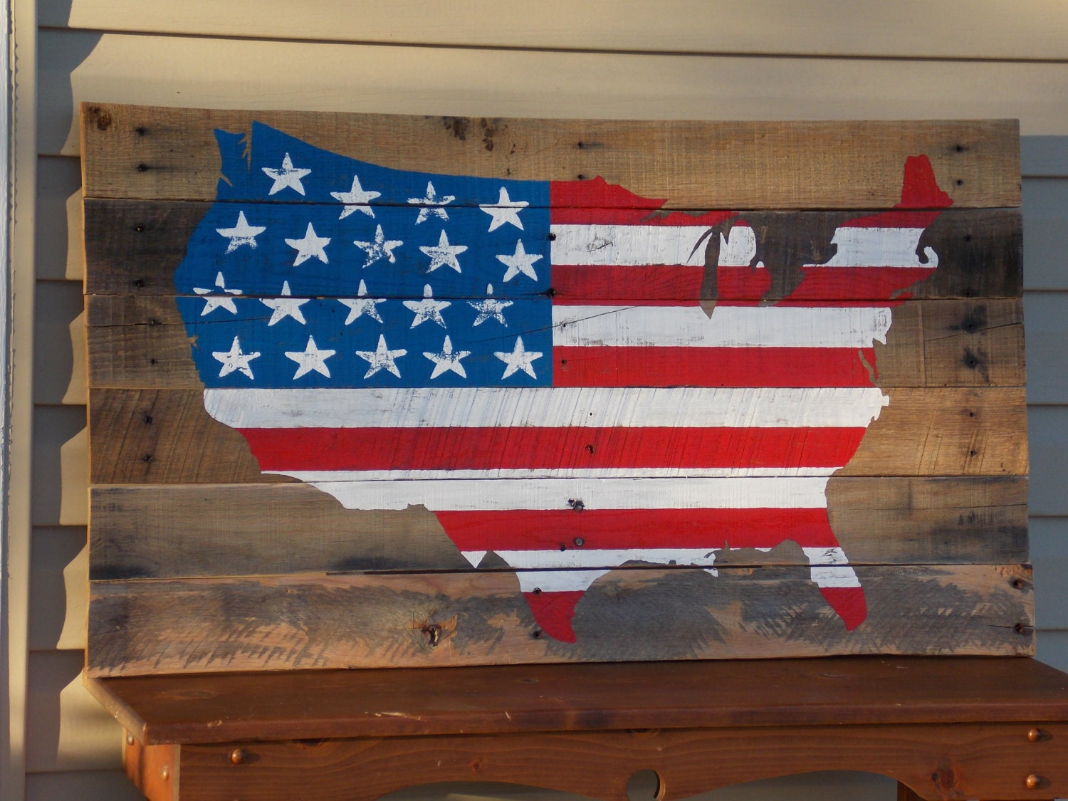 American flag on wood united states of america 3ft unique - American flag pallet art ...