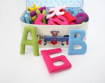 ABC felt letters, Felt alphabet letters, Felt Stuffed Alphabet, Colorful Letters, Educational Toy