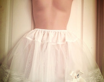 "16"" Lots Of Laces Layers White Ribbon Lolita Princess petticoat Slip"